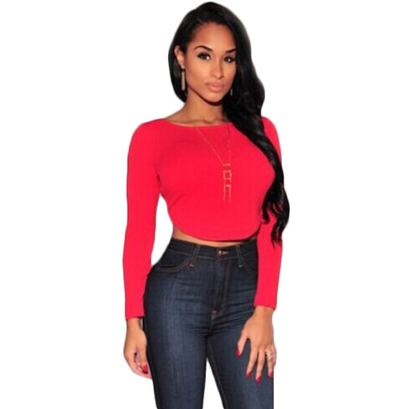 2015 Sexy Crop Top T shirt Women Solid O Neck Long Sleeve Back Zipper Blouse 4 Colors Blusas Free Shipping 511(China (Mainland))