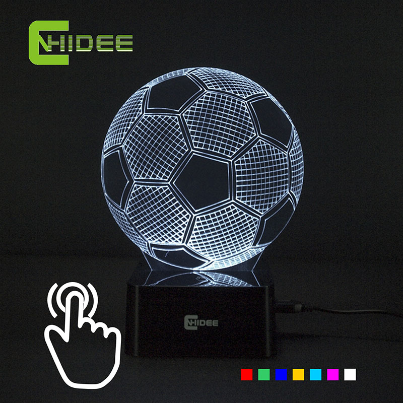Seven Colors Changing Soccer Ball Light Football 3D Visual Led Night Light USB Novelty Table Lamps as Home Decor Besides Lampara(China (Mainland))
