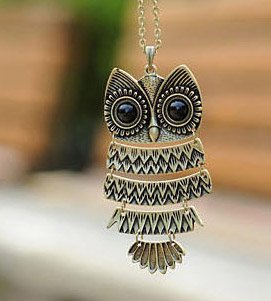 produto Min.order is $10 (mix order) Free Shipping Korea Adorn Article Ancient Bronze Owl NecklaceAncient the Owl Sweater Chain N1177