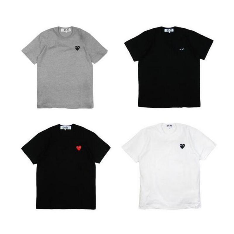 2016 New Brand Men's T-shirt Sleeve Gold Heart Tshirt Men Cotton COMME Des GARCONS CDG PLAY White T Shirt Styles Unisex Men Tops(China (Mainland))