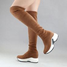 QUTAA 2020 Co Giãn Vải Trên Đầu Gối Giày Tăng Chiều Cao Giày Mũi Tròn Nữ Giày Nữ Thu Đông Dài Giày Size34-43(China)