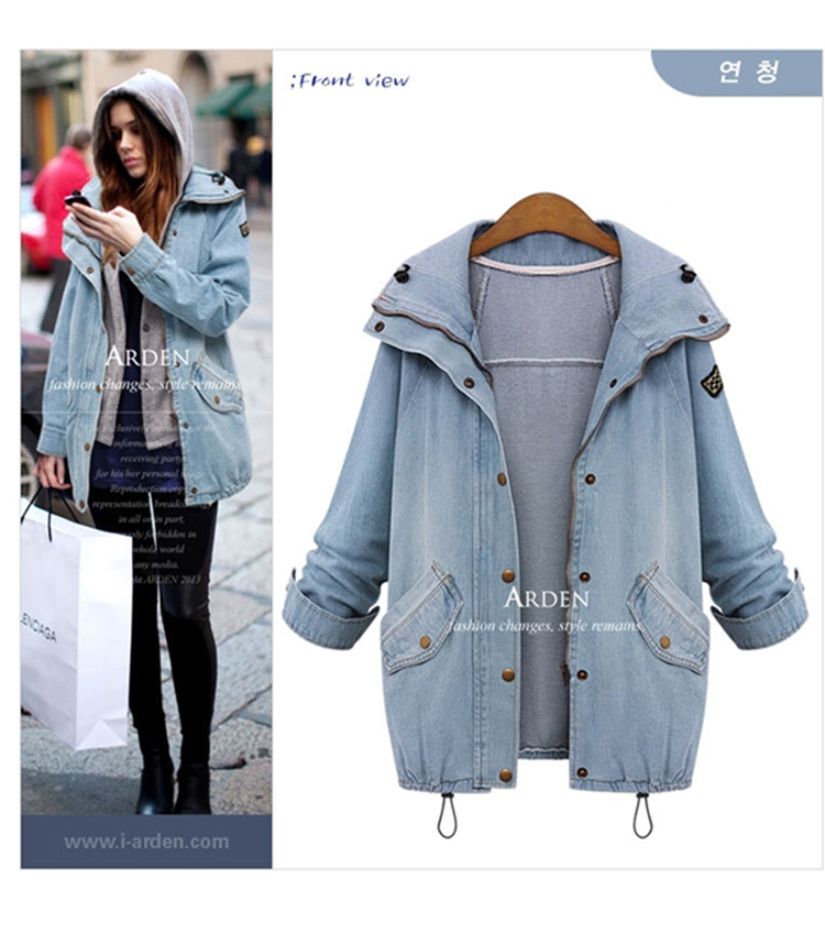 Plus Size Women Basic Denim Jackets New 2015 Autumn Fashion Jeans Jacket Woman Hooded Loose Casual Outerwear Coats Two Piece SetОдежда и ак�е��уары<br><br><br>Aliexpress