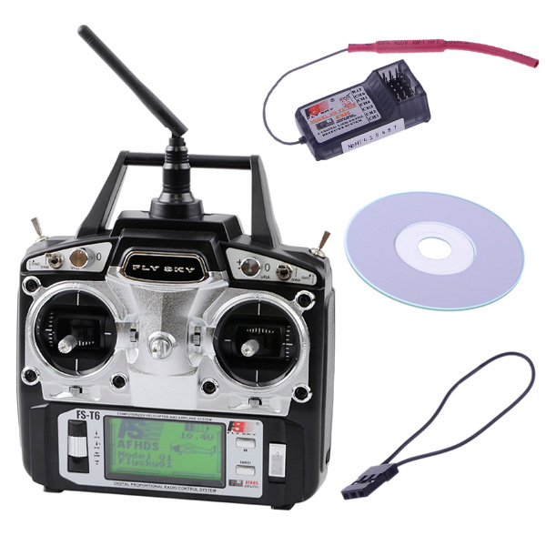 Flysky FS-T6 2.4GHz 6CH 6 Channel Transmitter and Receiver R6-B for RC Quadcopter Helicopter Mode 2(China (Mainland))