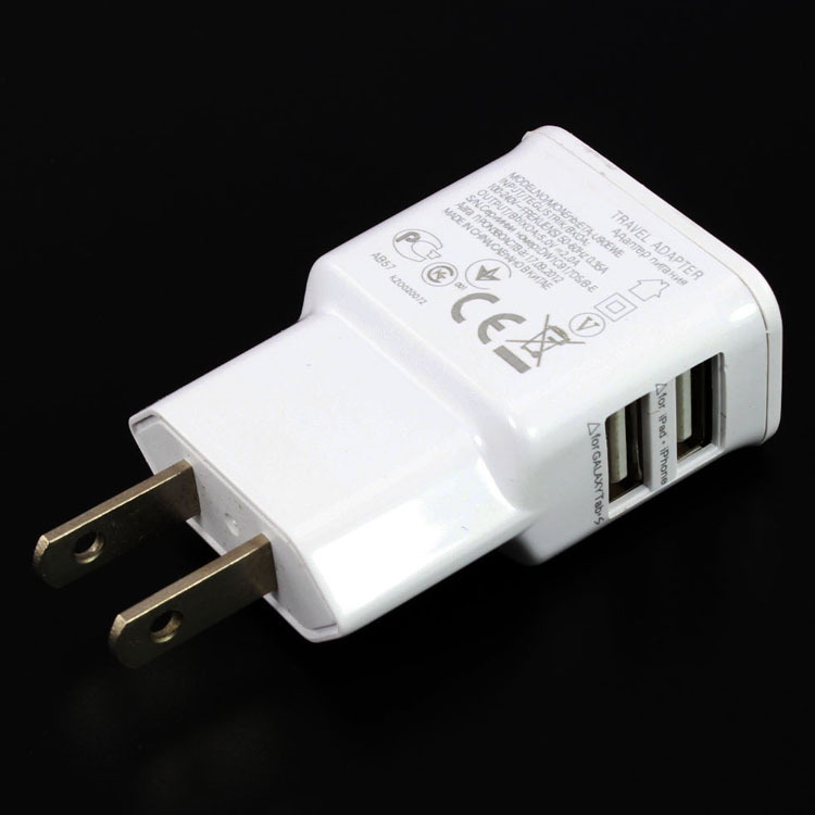wholesale 2A white black Dual USB 5V US Plug Wall Charger for Samsung note4 iphone HTC LG andriod mobile phone tablet pc(China (Mainland))