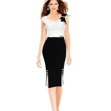 2016 Summer Elegant Work Office Dress Bow Decor Knee Length Office Dress Plus Size Kim Kardashian Dress SL0735