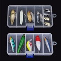 1 pc Brand New 5 compartments By 4 Splitter Transparent Plastic Fishing Lure Bait Box Storage
