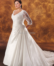 Hot Sale China Plus Size Wedding Dresses 2015 A Line Bridal Gowns Satin with Lace Sleeve Royal Train WH331(China (Mainland))
