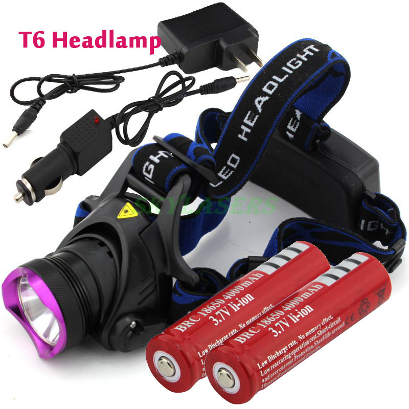 2000 Lumens CREE XM-L XML T6 LED Headlamp Headlight Flashlight Head Lamp Light + 2*18650 battery + charger + Car Charger(China (Mainland))