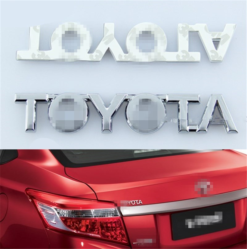 Hot Sale ABS Chrome Toyota Logo Car Sticker Emblem Badge Auto Rear Trunk Decal for Corolla RAVS Camry Crown Prius 105mm*18mm(China (Mainland))