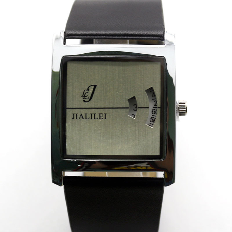 Free Shipping Trendy JIALILEI Rotation Dial Japan Movt Leather Wrist Watch Digital Display Time for Men