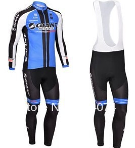 2013 NEW Giant  team Winter long sleeve cycling jersey+bib pants bike bicycle thermal fleeced wear ropa ciclismo invierno