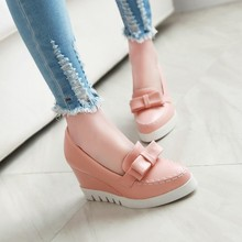 Korean Style Fashion Large Size 40 41 42 43 Black Pink Blue White PU Round Toe Bowknot Elegant Comfort Slope Heels Wedges Shoes