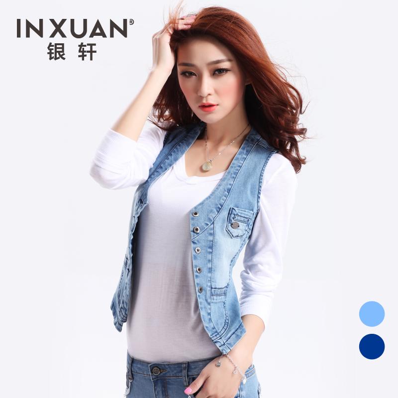 Free shipping women's denim vest jeans windproof denim sleeveless jacket  Hot sale waistcoat denim coat  S~XL YX-118G(China (Mainland))