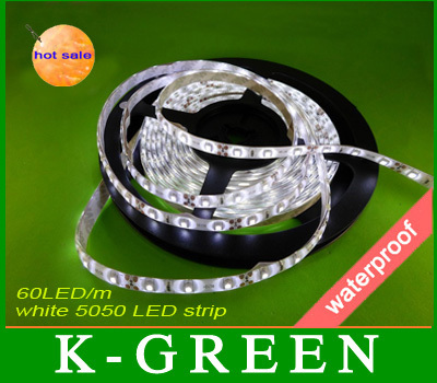 20mX high quality RGB white green blue red DC12V 5050SMD LED strip light 60LED/m 5m/Roll waterproof IP65 free shipping(China (Mainland))