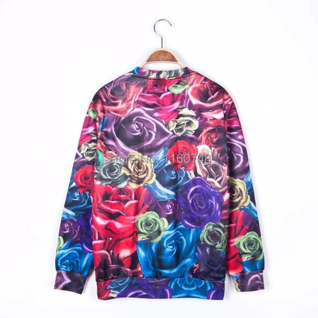 new spring 2015 Sweatshirts fashion personality puppy balloon fly 3d roses sailing printing sweatshirt women clothing(China (Mainland))