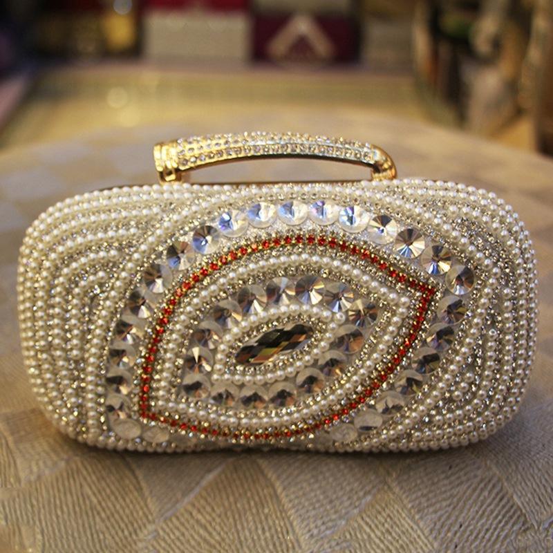 Free Shipping Women's Crystal Evening Bag Mini Handbag Beaded Clutch Wedding Diamond Bag Rhinestone Small Shoulder Bags(China (Mainland))