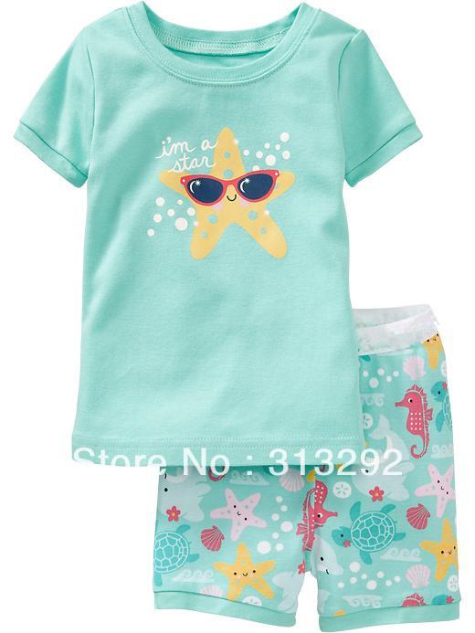 Купить Детские товары  PS235, star, Baby/Children pajamas, 100% Cotton Rib short sleeve sleepwear clothing sets for 2-7 year. None