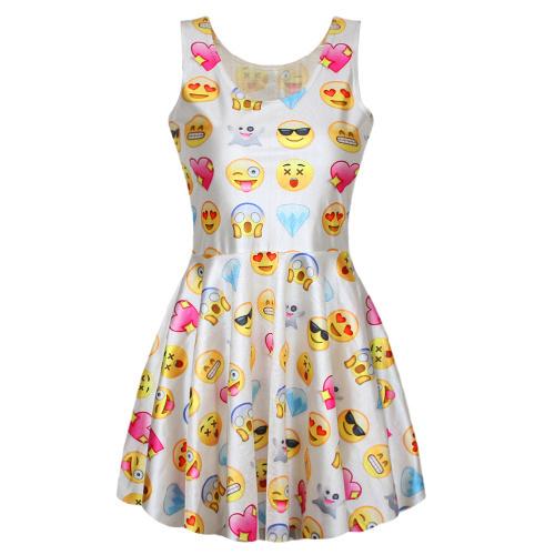 Летом Стиль Женщины Платье Секси Смазливая Легкость Напечатаны Emoji Платья Перемычку ...
