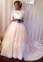 Vestido De Noiva Gorgeous Lace Appliques Plus Size Wedding Dresses 3/4 Sleeves Scoop Floor Length Bridal Gown China NA843(China (Mainland))