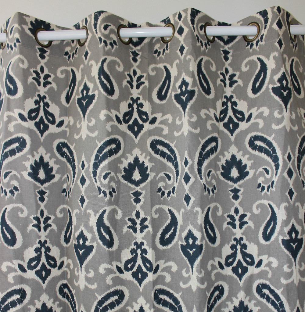 Navy Paisley Curtains Piece Navy Paisley Flower