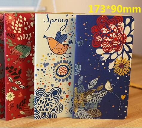 173*90mm/ Vintage Garden Flower Birds series Kraft Paper notebook/Korea style agenda Diary/ blank inner planner /retail(China (Mainland))