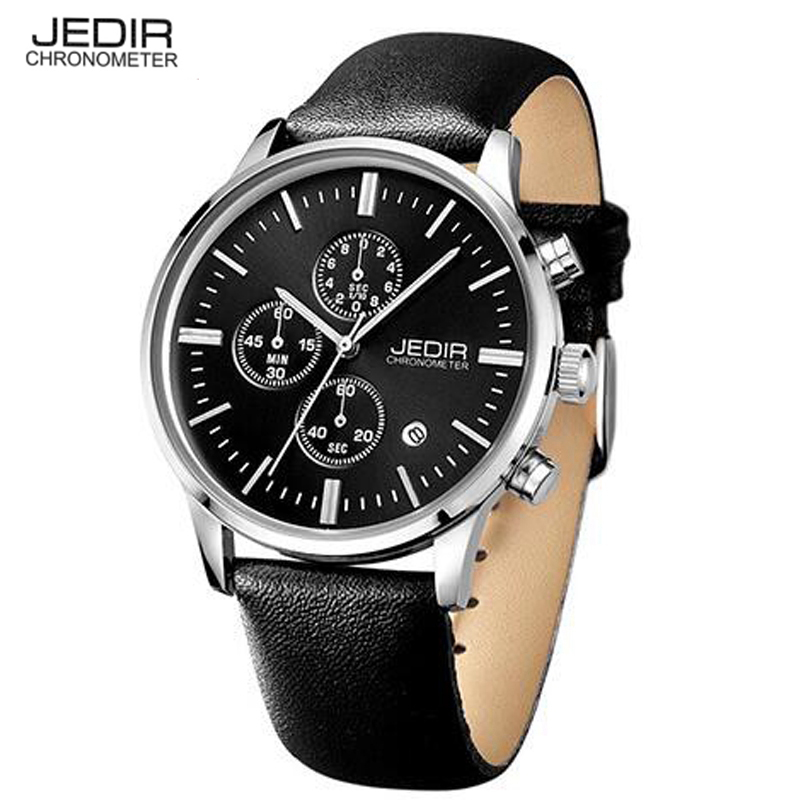 Switzerlands JEDIR Watches Chronograph Men Watches Sports Quartz Watch Luxury Brand Watch Men 2016 Black Leather Strap ML2012(China (Mainland))