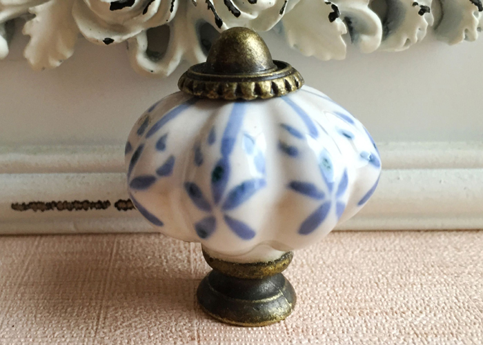 New 34mm Blue Leaf Hand Painted Ceramic Pumpkin Bedroom Cupboard Cabinet Knobs Door Drawer Furniture Handle Pulls