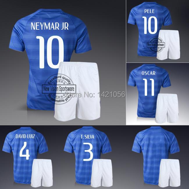 Youth & Kids Embroidery Blue Away Neymar JR David Luiz Pele Football Kit Uniform Teenager Sports Outfit Boys Soccer Jersey Set(China (Mainland))