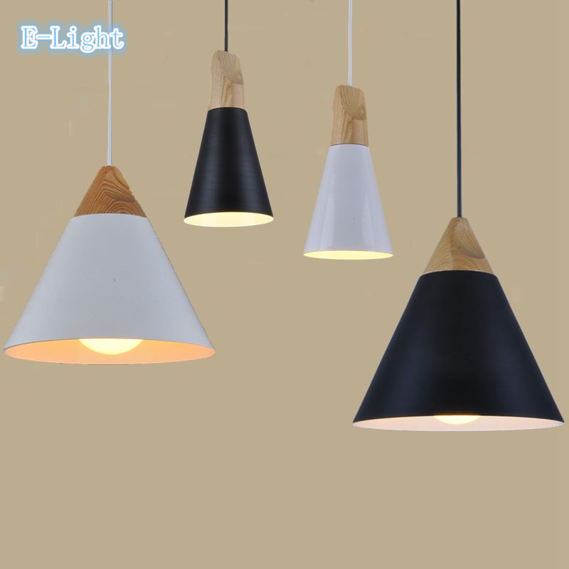 High quality aluminum oak wood pendant light ikea white black yellow gray vintage lamp - Hanging lights ikea ...