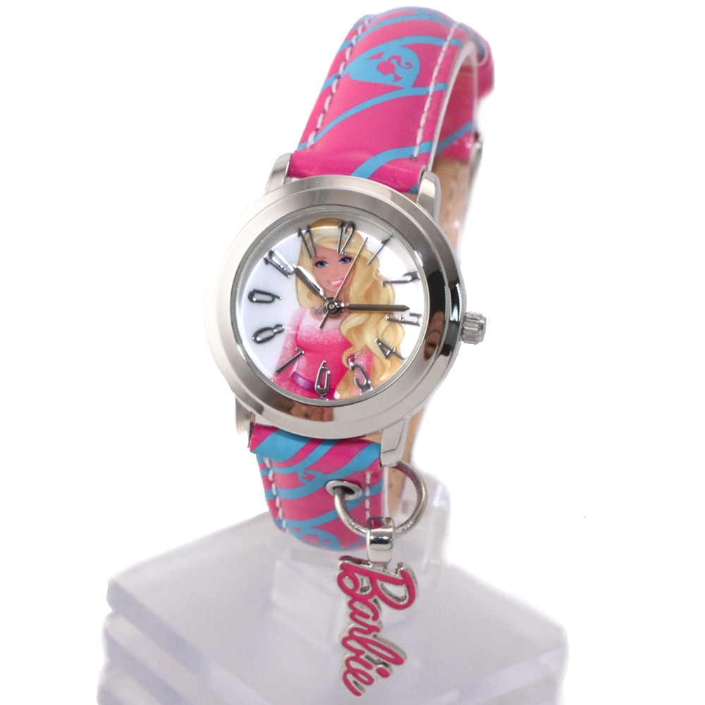 Lovely Fancy New Magenta Band Round PNP Shiny Silver Watchcase Children Watch KW059J(China (Mainland))