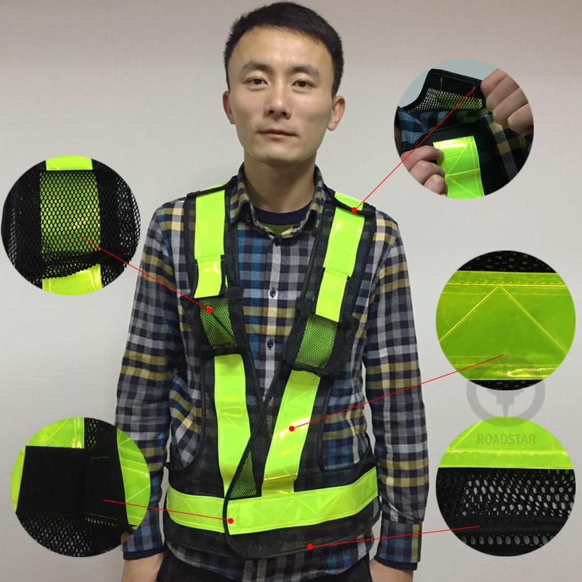 Высокая видимость работы в ночное время дорожного движения или велоспорт безопасности светоотражающий жилет