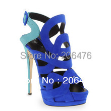 Latest blue womens shoes sandals high heel platform pumps summer genuine leather sheos woman suede free shipping(China (Mainland))