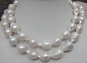 HUGE 12-18MM NATURAL AAA SOUTH SEA WHITE BAROQUE PEARL NECKLACE 35 INCHES AAA(China (Mainland))