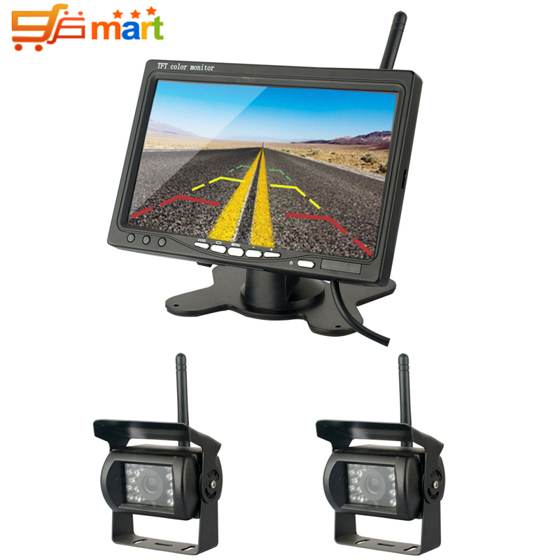 Фотография Wireless Vehicle 7 inch HD Monitor With Dual Night Vision Waterproof Rear View Cameras Parking Assistance for Truck Trailer Bus