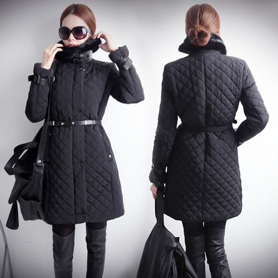 Hot Sale New 2014 Women Winter Fashion Md-Long Slim Thick Fur Collar Single Breasted With Belt Cotton-Padded Casual Jacket LJ704Одежда и ак�е��уары<br><br><br>Aliexpress