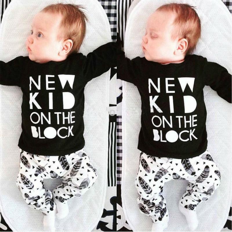 2016 autumn baby boy clothes baby kleding set fashion cotton long-sleeved letter t-shirt+pants newborn baby girl clothing set(China (Mainland))