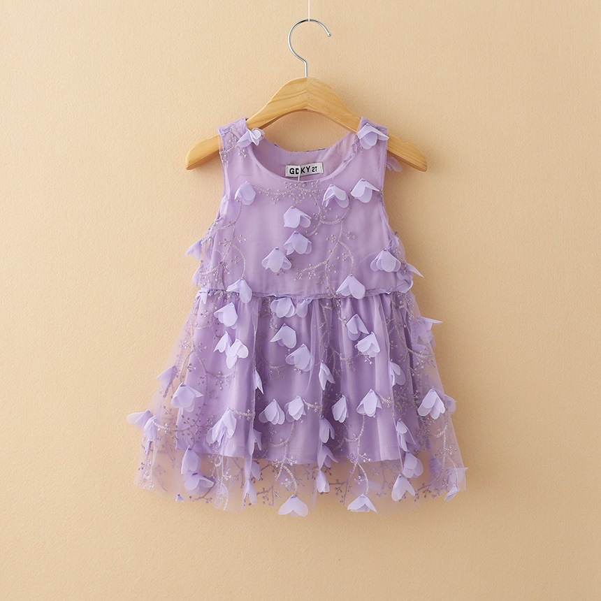 Girl Dress 2015  Free Shipping Wholesale 6pcs/lot Flower Petals Vestidos Kids Baby Girl Toddler Dress Children Clothes Clothing<br><br>Aliexpress