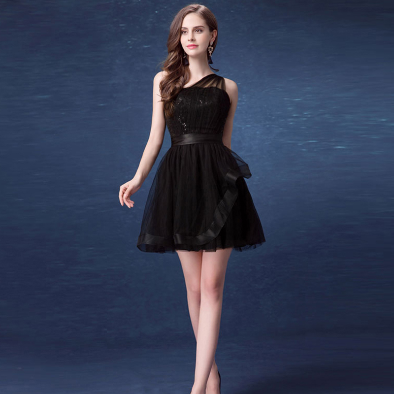 New arrival black One Shoulder mini Cocktail Dress Sexy short Lace strapless cocktail Dresses for teens 2016.7586,ty1225(China (Mainland))