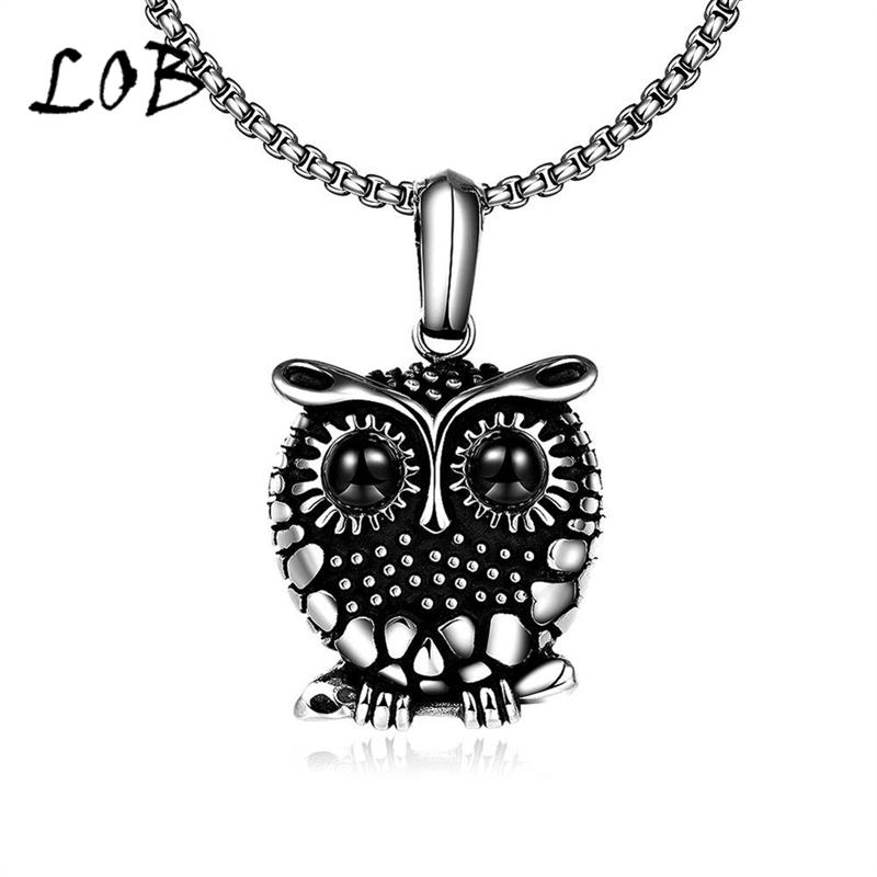 Fashion Jewelry Titanium 316L Stainless Steel Necklaces For Men Owl Punk Style Pendant Necklace Wholesale N073(China (Mainland))