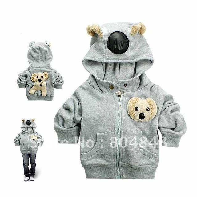 1pc Retail, Children Cute Koala Model Hooded Jacket, Baby Winter Cartoon Coat, Boy/girls Stylish Garment, freeshipping