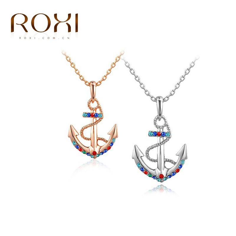 2015 ROXI Necklaces & Pendant Women 3.24 Big Promotion Jewelry Anchor Style Necklace Fashion Accessory(China (Mainland))