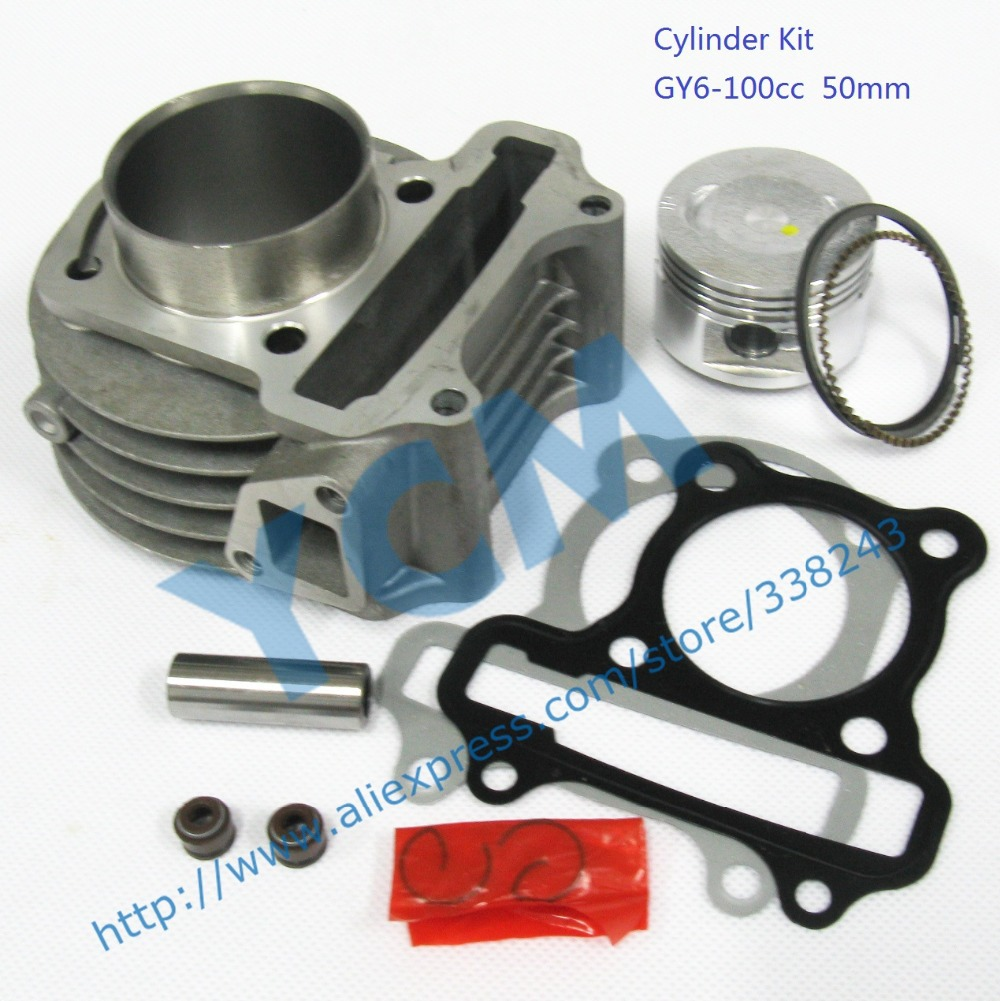 6 pcs a lot Cylinder Kit for GY6 100cc Scooter Engine 50mm with Piston Kit
