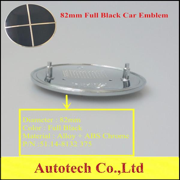 Brand New 82mm Full Black Car Front Badge Emblem Bonnet Roundel Hood Car Boot 82mm 2 Pins Part No. 51148132375(China (Mainland))