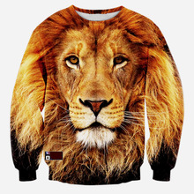 2015 new fashion men 3D sweatshirts print animal lion pullover hoodies autumn/winter sweatshirt(China (Mainland))