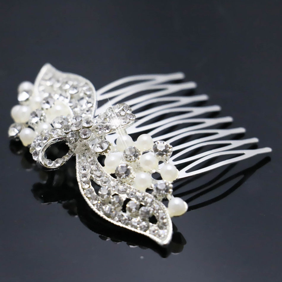 2015 Wedding Crystal Bowknot Hairpin Hair Fashion Pearl Diamante Comb Hair Clips For Women Bridal Jewelry Accessories Wholesale(China (Mainland))