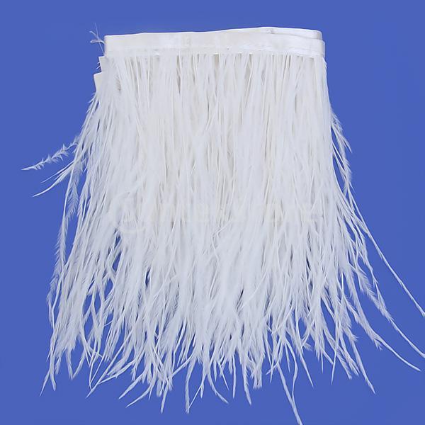 Free Shipping Ostrich Feather Dyed Fringe 1 Yard Trim White(China (Mainland))