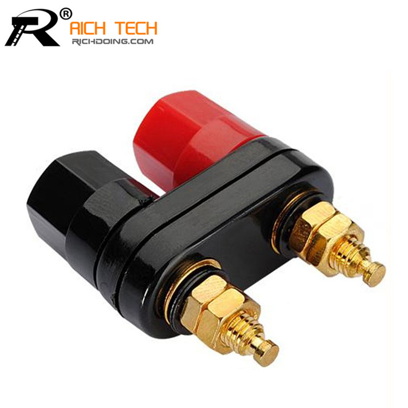 Top Selling High Quality Couple Terminals Red Black Connector Amplifier Terminal Binding Post Banana Speaker Plug Jack(China (Mainland))