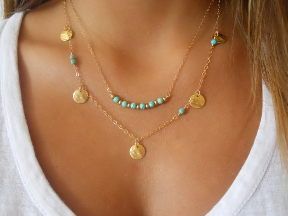 Simple Silver & Gold Bohemian Charm Necklace For Women Coin Bead Chain MultiLayer Fashion Bohemian Turquoise Necklace Pendant(China (Mainland))