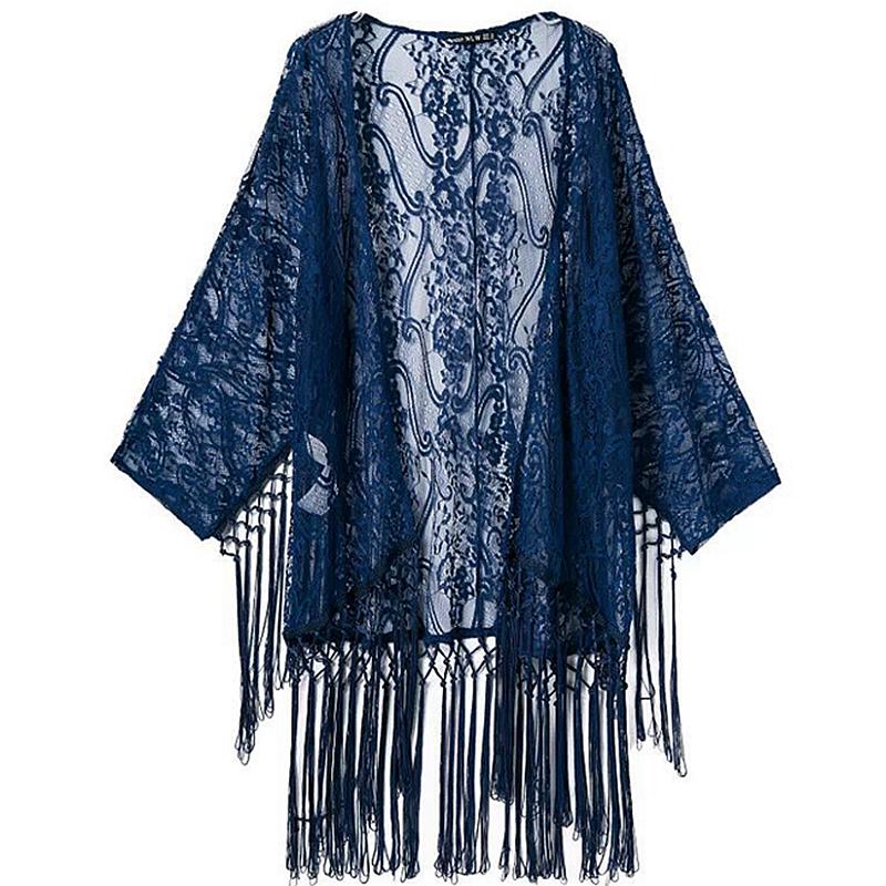 Women Plus Size Kimono Cardigan Deep Blue Floral Print