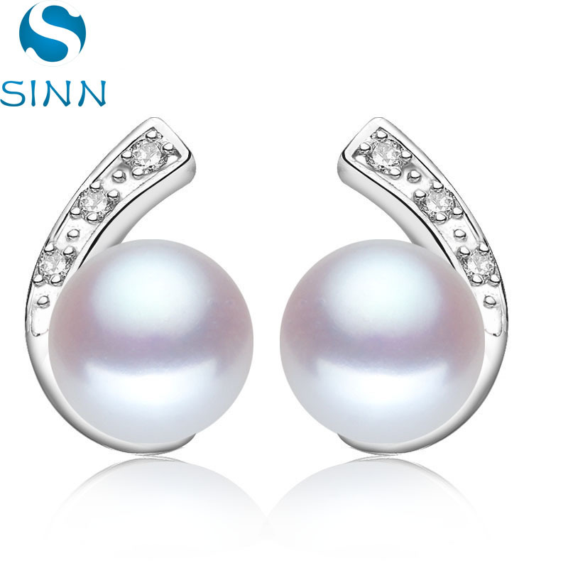 wholesale 100% Natural Freshwater Pearl earrings with 925 Sterling silver Stud Earrings For Women, 7-7.5mm Pearl Jewelry(China (Mainland))